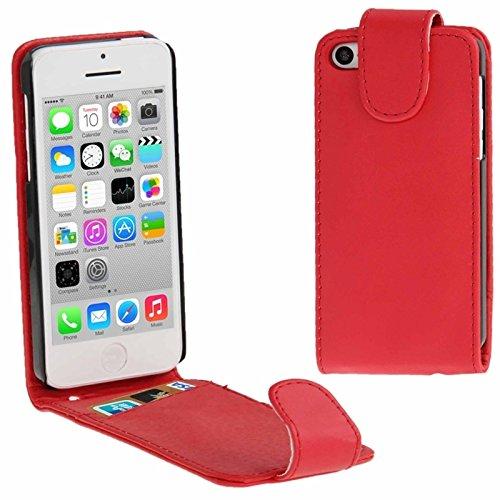 Mxnet Vertikale Flip Leder Tasche mit Kreditkarte Slot für iPhone 5C rutschsicher Telefon-Kasten ( Color : Red - Iphone 5c Kreditkarten-telefon-kasten