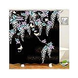 Bishilin 3D Badvorhang Vintage Kultur Japans Blumen Duschvorhang Anti-Schimmel 150x180 cm