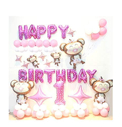 HorBous 1 Jahr alt Baby Kinder Geburtstag Ballon Dekoration 1. Party Ballon Dekor Set Pink/Blau (Rosa)