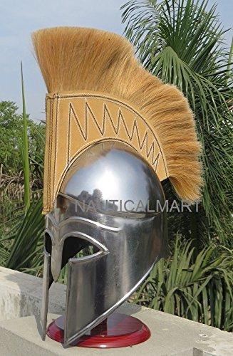 Mittelalter Griechische Korinthischer Helm mit Golden creme Plume Spartan Kostüm Armor