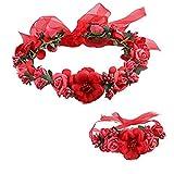 Lalang Elegant Boho Stil Blumenkranz Blumenstirnband Garland Haarband Kopfband Halo mit Floral-Handgelenk-Band Hochzeit Festival Braut (Rote)