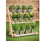 Lot de 12 pots de fleurs en acier galvanisé