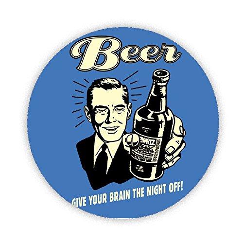 Bottiglia di birra Retro-dare il vostro cervello la notte Off stampato frigorifero magnete pulsante 58mm rotondo grande regalo