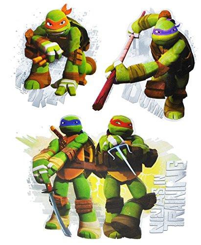 (3 tlg. Set 3-D ! Wandtattoo / Fensterbild - Teenage Mutant Ninja Turtles - Hero - Folie selbstklebend - beschichtet und wasserabweisend - Wandsticker Sticker Aufkleber - wasserfest z.B. für Bad / Badezimmer - Leonardo Donatello Raphael Michelangelo - Schildkröten)