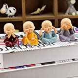 TIED RIBBONS Set of 4 Miniature Buddha Monk Figurines Showpiece for Home, Office Decoration(Multicolor)