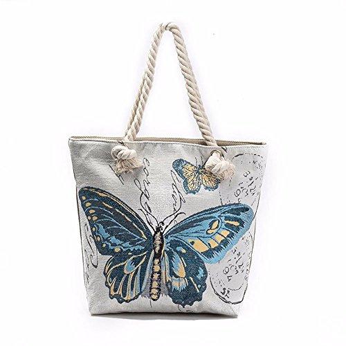 Longra borsa del computer portatile di stampa farfalla Blu