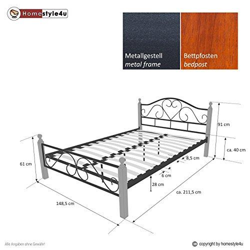 Homestyle4u Metallbett 140 x 200 Bettgestell mit Lattenrost - 7