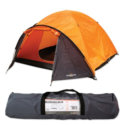 51SRJ lrW6L. SS500  - Milestone Camping Camping 18890 4 Man Super Dome Tent ~ Orange, Grey