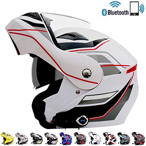 LSY Motorrad FM Integrierter Bluetooth-Klapphelm Motorradhelm mit Zwei Lautsprechern und abnehmbarem und waschbarem Innenfutter,White,M(5758CM)