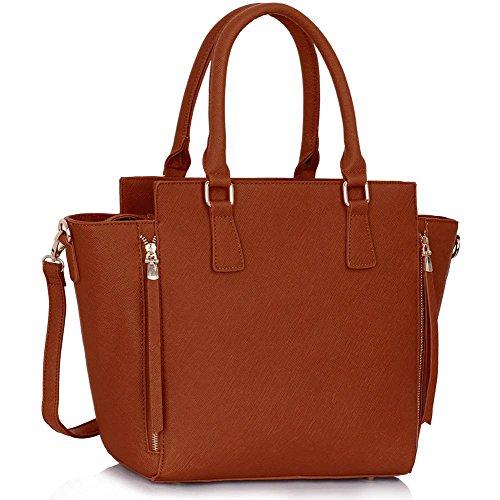Meine Damen Umhängetaschen Frauen Große Designer Handtaschentoteschulterkunstleder Modische Taschen (Leder Braun Givenchy)