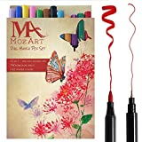 Pinselstift-Set mit zwei Spitzen– 12 Farben – Langlebig, Wasserfarben-Effekt, Aquarell Brush Pen – Ideal für Malbücher, Manga, Comic, Kalligrafie - MozArt Supplies