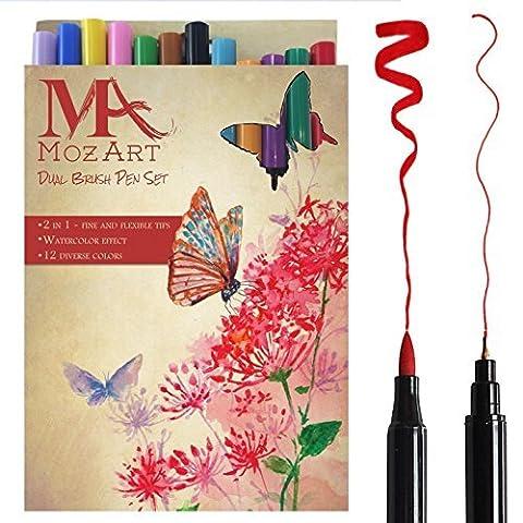 Set de stylos pinceaux à deux pointes– 12 couleurs – qualité supérieure, créez des effets aquarelle – parfait pour cahiers de coloriage adulte, mangas, comics, calligraphie– MozArt Supplies