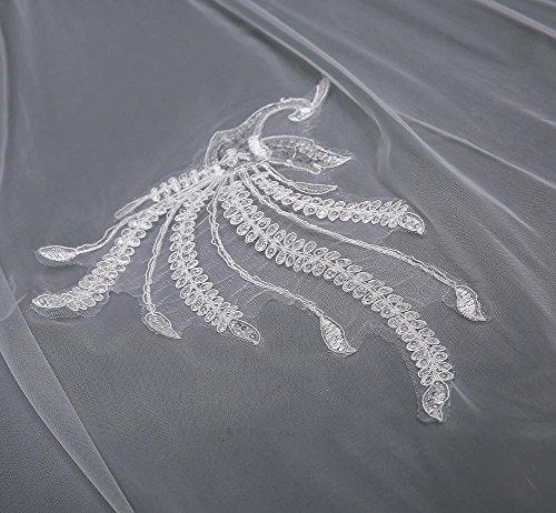 fbea5e0274e0 ... pizzo velo da sposa 3 metri di coda lunga Cattedrale mano applique  Phoenix velo + pettine