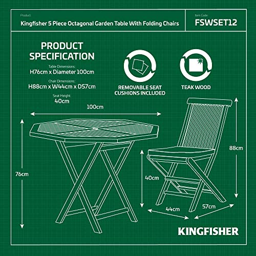 Kingfisher FSWSET12 5 Piece Teak Octagonal Table with Folding Chairs Outdoor Garden Dining Furniture Set, Transparent, One Size