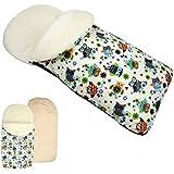 rawstyle Saco de pie de invierno * Beige + búho $4* Saco de pie para bebé por ejemplo maxi-cosi, Römer, Cochecito o Buggy etc. nuevo Saco lana de cordero Búhos