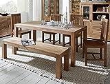 expendio Tischgruppe Bihar Akazie massiv Stone Esszimmertisch Sitzbank 4X Holzstuhl Esszimmer Wohnzimmer Küche