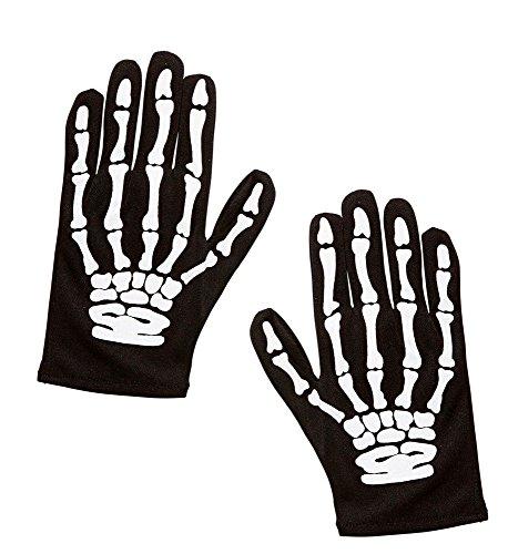 shoperama Kinder Skelett Handschuhe Schwarz Hände Finger Knochen Halloween Horror ()