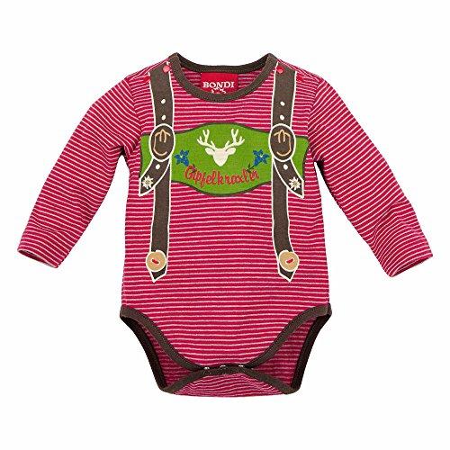BONDI Body geringelt ´Hosenträger´, rot/grey-melange 80 Tracht Baby Jungs Artikel-Nr.90869