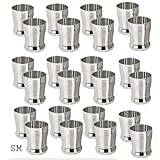 Sharda Metals Set Of 24 Stainless Steel Water Juice Glasses Set Dinning Table Accessories