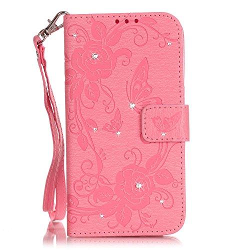 Etsue Glitzer Schutzhülle für iPhone 6 Plus/6S Plus Leder Flip Case Lanyard Strap Design, [Rose Blumen Floral Schmetterling] Muster 3D Bling Kristall Diamant Strass Wallet Cover Hülle Etui Handyhülle  Strass,Schmetterling,Rose,Rosa