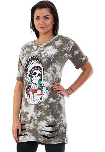 T-Shirt Long Damen Oversize Metalls Saint Maidens Indianer Skilett Totenkopf Rocker Rock Music Shirt Oberteil Musik Print Aufdruck Khaki
