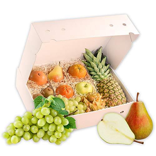 Obstbox Genesungsgruß mit frischen Früchten und gesunden Vitaminen in einer Geschenkbox Früchtebox Obstkiste (Die Türkise)