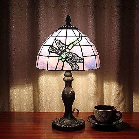 Carl Artbay Tiffany Style Lamp 8 Inch Blue and Purple Minimalist BedRoom Study Lamp Night Light Signature Restaurant Handmade Glass Factory