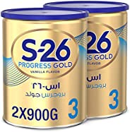Wyeth S-26 Progress Gold Stage 3, 1-3 Years Premium Milk Powder Tin for Toddlers, 900g x 2 - Promo Pack