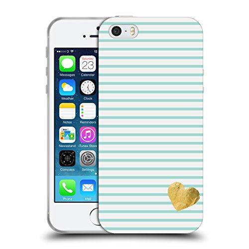 Offizielle Monika Strigel Rot Kleines Herz Soft Gel Hülle für Apple iPhone 5 / 5s / SE Minz