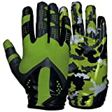 Best Football Gloves For Receivers - Prostyle Camo American Football Receiver Gloves, neon green Review