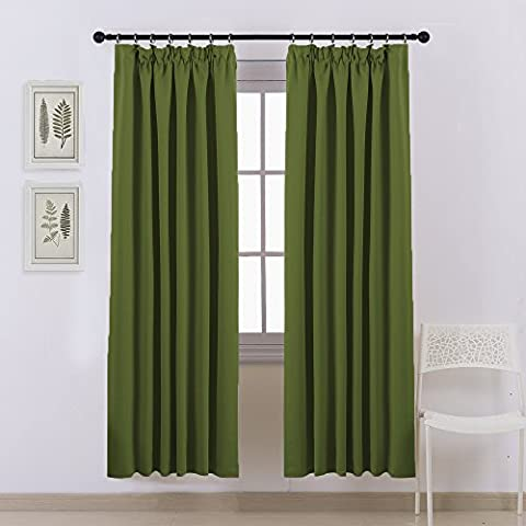 Blackout Pencil Pleat Windows Curtains - PONY DANCE Top Tape Premium Super Soft Blackout Curtains Solid Thermal Insulated Readymade for Nursery, 2 Pieces, 46Inch by 72Inch, Olive Green