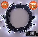 Weihnachts-Lichterketten 200 LED helle weiße Baum-Lichter Innen- und im Freiengebrauch Weihnachtsschnur-Lichter Gedächtnisfunktion, Netzbetriebene feenhafte Lichter 20m/66ft Lit-Länge - Grünes Kabel