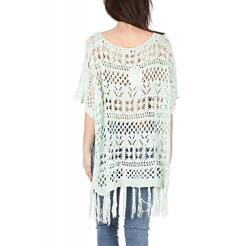 Ideal Shoes Swan - Poncho en Crochet avec Franges Drissia Vert