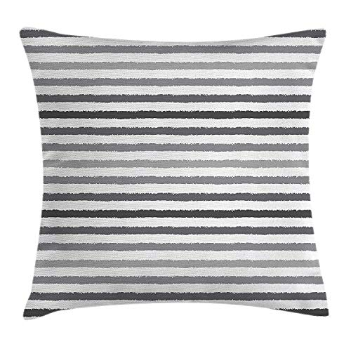 Shower Curtain Striped Throw Pillow Cushion Cover Gray and White Stripes Monochrome Tone Brush Style Lines Grunge Retro Digital Print, Decorative Square Accent Pillow Case, 18 X18 Inches, White Grey -