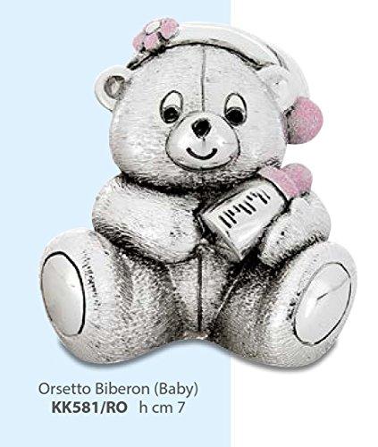 Kikke statuina orsetto con biberon smaltato rosa argentato h cm 7 made in italy rifinito con scatola