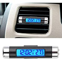 lafyHo 2 in 1 Auto-Digital-LCD-Temperatur-Taktgeber Zubeh/ör Stechuhr Entl/üfterelement Outlet Clip On Thermometer