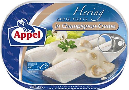 Preisvergleich Produktbild Appel Heringsfilets in Champignon-Creme,  10er Pack Konserven,  Fisch in Champignoncreme
