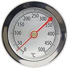 Termometro in acciaio inox con clip, 500 °C gradi, ideale per forno, forno per pizza, forno a legna, analogico e bimetallico