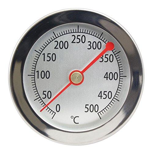 500 °C / 15 cm Thermometer für Bratofen / Backofen / Pizzaofen / Holzofen / Holzbackofen / Ofen / Grill . Analog / Bimetall / Edelstahl
