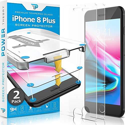 Power Theory Panzerglas kompatibel mit iPhone 8 Plus [2 Stück] - Schutzfolie mit Schablon