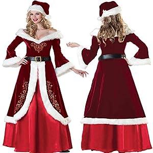 Chenqi Femmes De Noël Déguisements Costumes Mme Santa Claus Cape Rouge À Capuche Cape Cape 1.5 M Belle