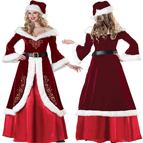 Christmas Fancy Kostüm Dress - Chenqi Womens Christmas Fancy Dress Kostüme Frau Weihnachtsmann Red Cape Kapuzenumhang Cape 1,5 M Wunderschönen