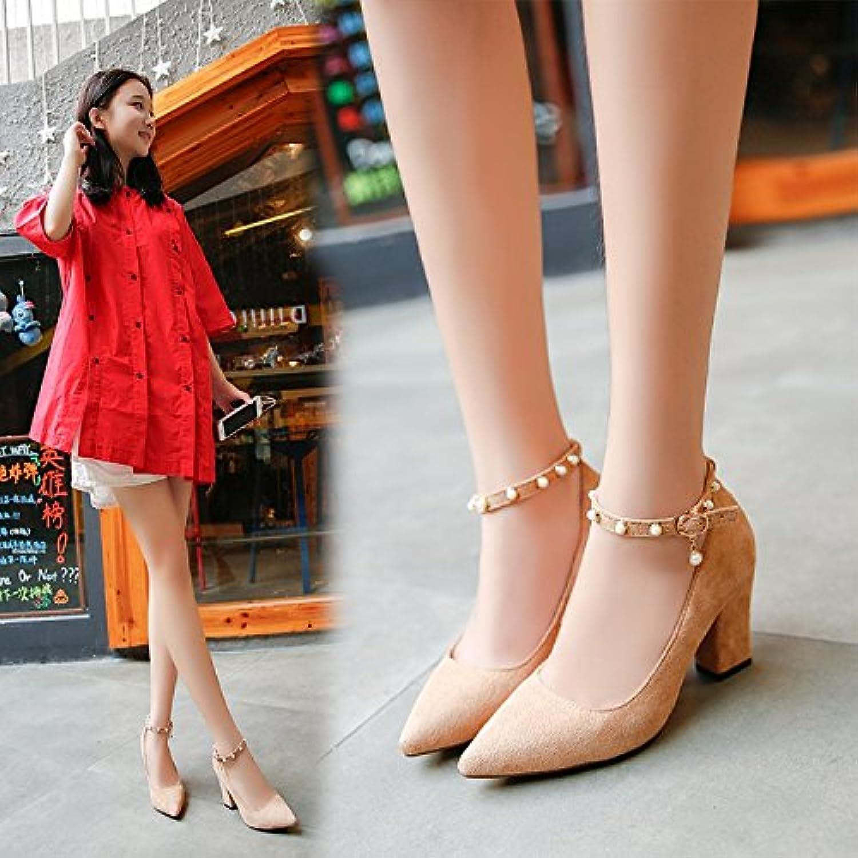 Xue Qiqi Coarse e Fine-punto ad alta scarpe tacco tacco tacco cinghia scanalata calzature donna bocca poco profonde solo scarpe... | Specifica completa  0006cb