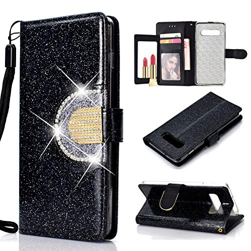 WIWJ Kompatibel mit Samsung Galaxy S10 Hülle Glitzer Diamant Magnet Leder Handyhülle 360 Grad Wallet Schutzhülle Silikon Flip Klapphülle Tasche-Schwarz -