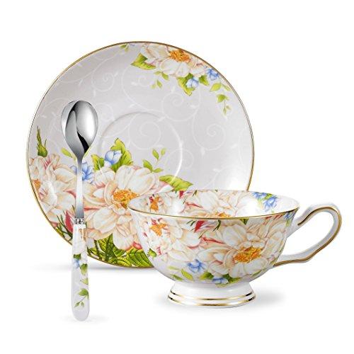 Panbado 3 piezas Vajilla de Porcelana Taza de Té tazas de café,incluye 1 vaso, 1 plato, y 1 cuchara (13 x 10 x 6 cm) (200 ml)