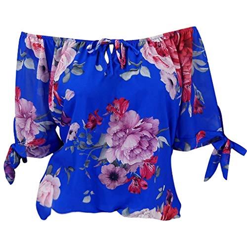 (TWIFER Damen Plus Size Kurzarm Gedruckt Schulterfrei Bluse Pullover Tops Shirt)