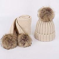 BLACK ELL Gorros de Punto de otoño e Invierno de los niños, cálida y cómoda Bufanda Sombrero abrigado de Invierno, niño de Color, 1