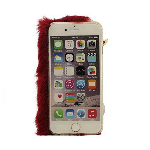 Bling iPhone 6S Plus (5.5 Pouce) Case Cover, Coque Housse étui de protection pour iPhone 6 Plus / 6S Plus (5.5pouces) + Silicone Patte de Support, Renard Fourrure Modélisation Bling Diamant Design, So Cramoisi
