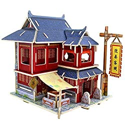 Creative Assemble Puzzle Toys Child Early Education Wooden 3D Puzzle House China Inn