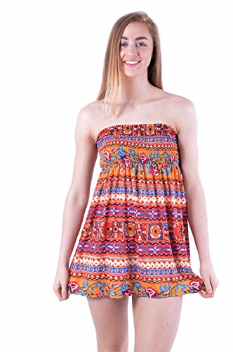 Damen Sommer Blumig bedruckt Sheering kurzes Minikleid Stretchy Top Orange Rot